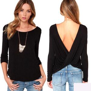 Lesara Langarmshirt mit tiefem Rückenausschnitt - Schwarz - L