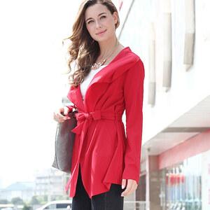 Lesara Kurzer Mantel mit Gürtel - Rot - M