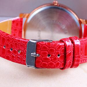 Lesara Armbanduhr mit Schmucksteinen - Rot