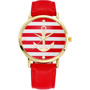 Lesara Armbanduhr mit Anker-Motiv - Rot