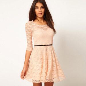 Lesara Kleid aus Spitze - Beige - 3XL