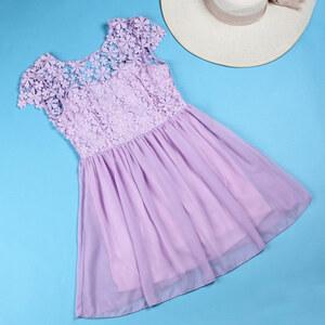 Lesara Plissee-Kleid mit Spitze - Flieder - S