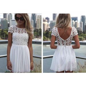Lesara Plissee-Kleid mit Spitze - Weiß - S