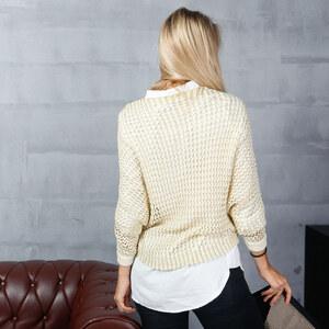 Lesara Grobstrick-Pullover mit Rundhalsausschnitt - Weiß - S