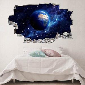 Lesara 3D-Vinyl-Wandsticker Mond und Erde - Erde - Klein