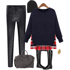 Lesara Sweater im 2-in-1-Look - Dunkelgrau - L