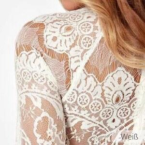 Lesara Kleid mit zarter Spitze - Weiß - S