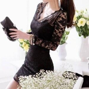 Lesara Spitzen-Kleid mit 3/4-Ärmel - Schwarz - S