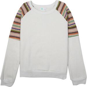 Lesara Sweater mit gemustertem Raglanärmel - Weiß - S