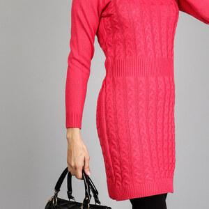 Lesara Unifarbenes Strickkleid mit Zopfmuster - Pink - XL