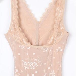 Lesara Shapewear-Body mit floraler Spitze - Nude - XS
