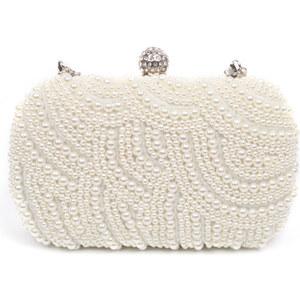 Lesara Clutch mit Perlen-Verzierung - Weiß