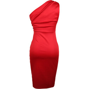Lesara One-Shoulder-Cocktailkleid - Dunkelrot - L