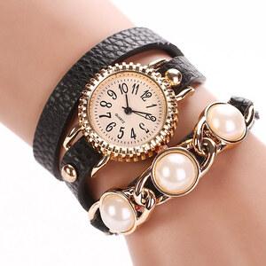 Lesara Wickel-Armbanduhr mit Perlen - Schwarz
