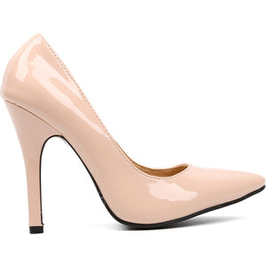 Lesara High Heel in Lackleder-Optik - Beige - 36