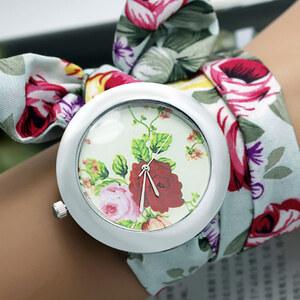 Lesara Wickel-Armbanduhr mit Stofftuch - Weiß