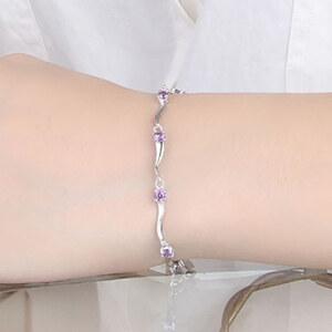 Lesara Geschwungenes Armband mit Zirkonia versilbert - Violett