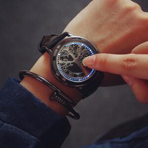 Lesara LED-Leder-Armbanduhr Baum - Schwarz