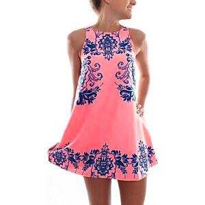 Lesara Ärmelloses Kleid mit Ornament-Muster - Rosa - S