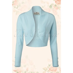 Collectif Clothing 50s Jean Knitted Bolero in Light Blue