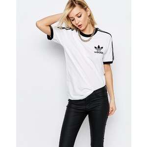 Adidas Originals - Adicolour - T-shirt coupe boyfriend à 3 rayures - Blanc