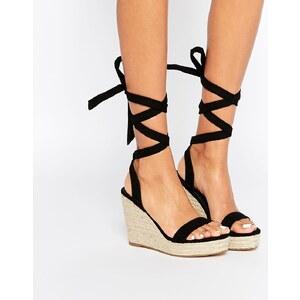 ASOS - TALENT - Sandalen mit Keilabsatz und Ballerinaschnürung - Schwarz