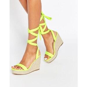 ASOS - TALENT - Sandalen mit Keilabsatz und Ballerinaschnürung - Lime