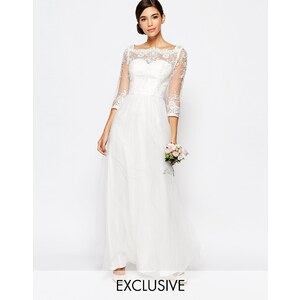 Chi Chi London - Robe longue de mariée à encolure Bardot avec jupe en tulle et dentelle de qualité - Blanc