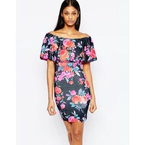 Club L Essentials - Robe courte volantée à encolure Bardot et fleurs de couleur vive - Noir