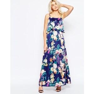 Girls on Film - Robe longue à imprimé floral flou - Bleu marine