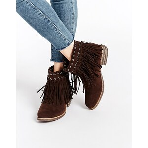 Truffle Collection - Frolly - Bottines à franges - Marron