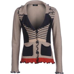 Bexleys Woman, Strickjacke mit Taschen, taupe / navy / rot, Größe S