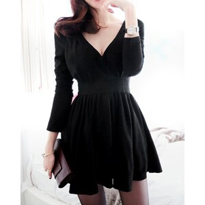 sammydress Solid Color V-Neck A-Line Slimming Long Sleeve Dress For Women