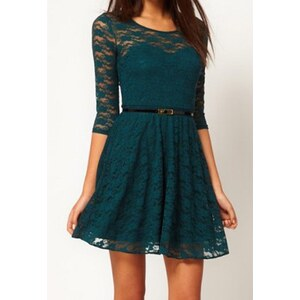 sammydress Glamour Scoop Collar Solid Color Hollow Out Half Sleeve Pleated Lace Dress For Women