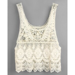 sammydress Hollow Out Design Sleeveless Scoop Neck Crochet Embellished Lace Tank Top For Women