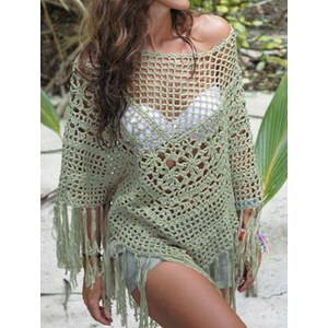 sammydress Stylish Cut Out Solid Color Fringe Design Asymmetrical Cover Up For Women