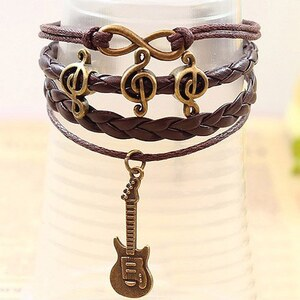 sammydress Vintage Note Embellished Guitar Pendant Multi-Layered Charm Bracelet For Men and Women