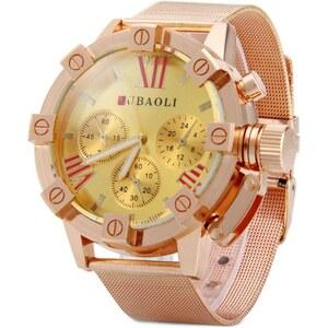 sammydress Jubaoli 1013 Male Quartz Watch Decorative Non-functioning Sub-dials Steel Net Watchband