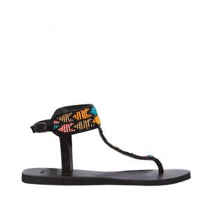 Sandales plates, brodées avec des perles Etam