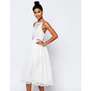 ASOS Premium - Robe mi-longue habillée en dentelle motif géométrique - Multi