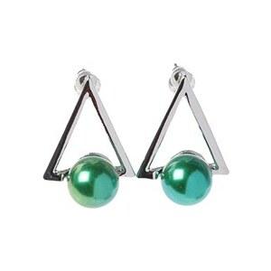 CacheCache Boucles d'oreilles triangle et perle multicolor