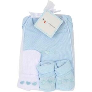 Les Bébés d Elysea Les Bébés - Ensemble bleu d'Elysea body avec chaussons et bonnet - bleu clair