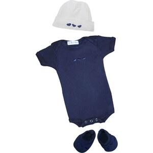 Les Bébés d Elysea Body MC brodé+ chapeau+chaussons - bleu marine