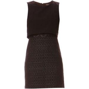 Only Kleid aus zwei Materialien - schwarz