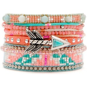 Hipanema Reef - Bracelet manchette, multi-rangs - rose