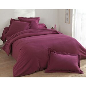 Becquet Drap-housse flanelle unie lauréat - violet prune