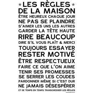 Mes mots déco Les règles de la maison - Sticker en papier - blanc