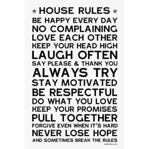 Mes mots déco House rules - Sticker en papier - blanc