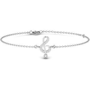 Carashop Bracelet en argent orné de diamants - blanc