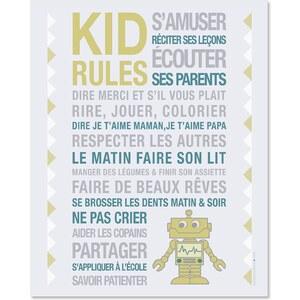 Mes mots déco Kid rules-robot - Sticker - imprimé